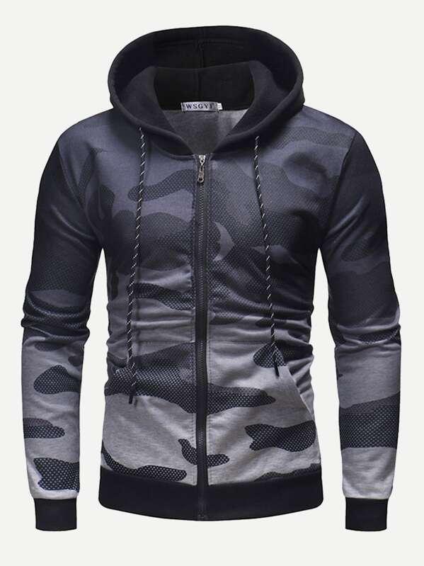 Men Zip Up Ombre Camouflage Hooded Sweatshirt