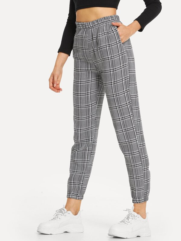 Elastic Waist Plaid Pocket Pants, Masha