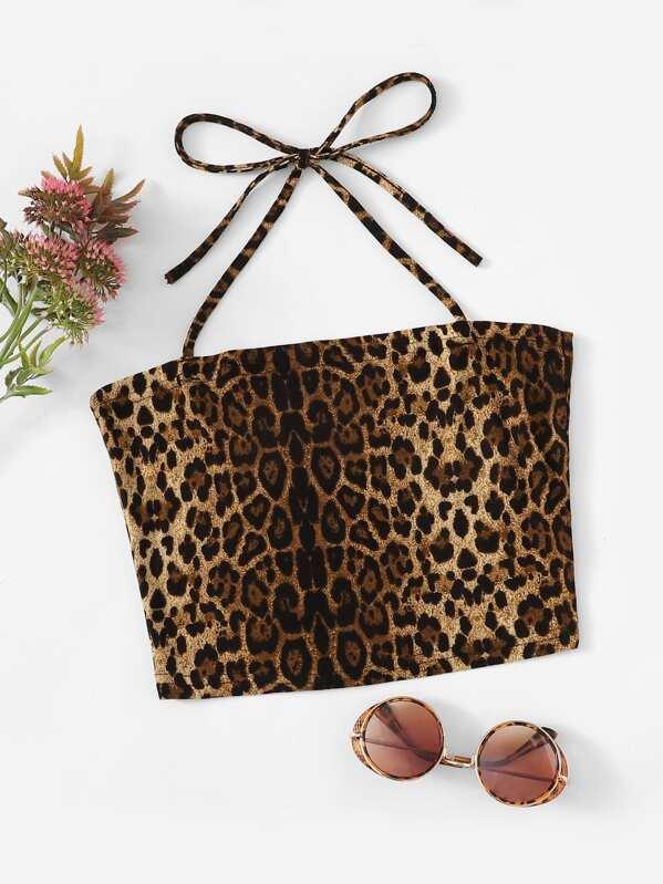 Leopard Print Crop Cami Top, null