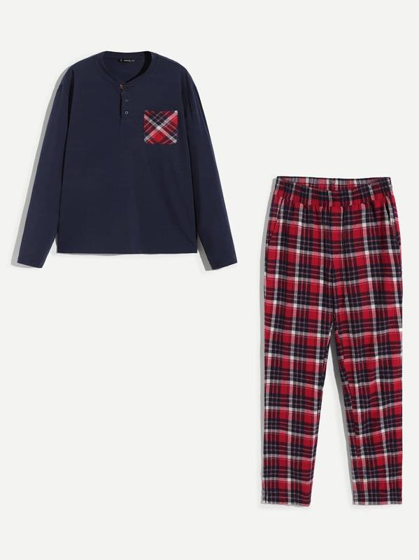 Men Button Front Plaid Pajama Set, null