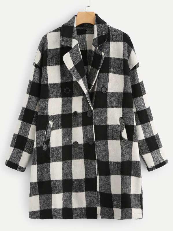 Plus Notch Collar Double Breasted Plaid Coat