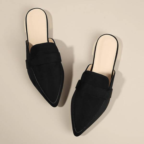 Point Toe Suede Flat Mules