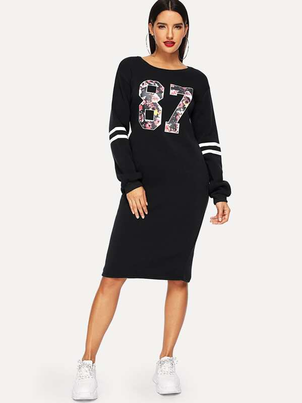 Varsity Print Slit Back Zipper Sweatshirt Dress, Juliana