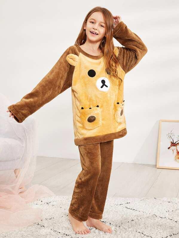 Christmas Kids Bear Pattern Plush Pajama Set
