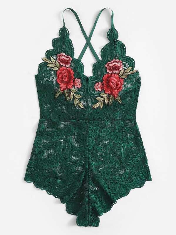 Criss Cross Scalloped Trim Appliques Floral Lace Teddy Bodysuit