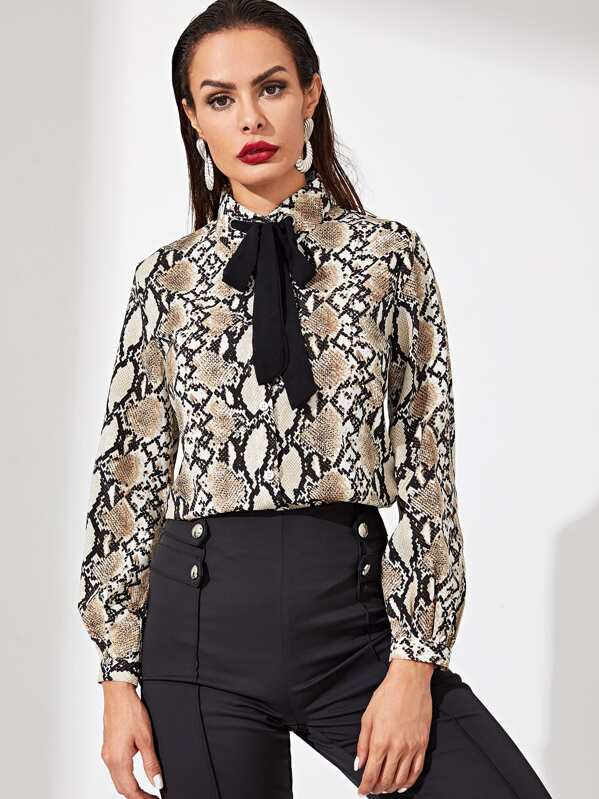 Contrast Tie Neck Snake Print Blouse, Andy