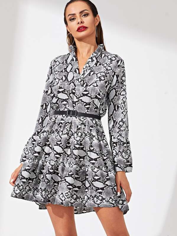 Snakeskin Belted Waist Flare Dress, Andy