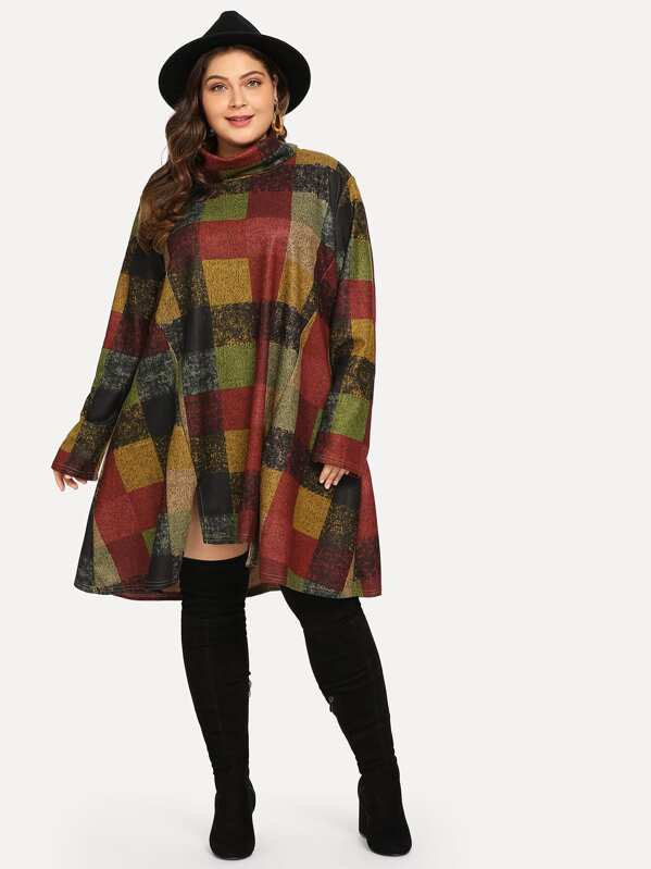 Plus High Neck Plaid Print Sweatshirt, Carol