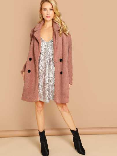 Double Breasted Button Front Faux Fur Teddy Coat