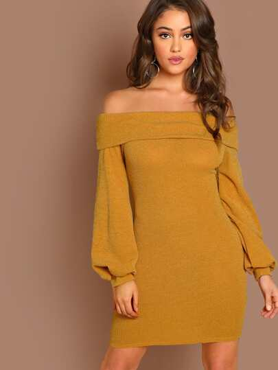 Fold Off The Shoulder Long Sleeve Knit Mini Dress