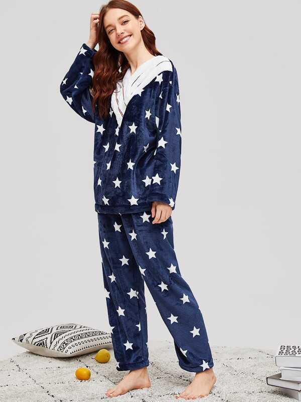 Star Print Contrast Stripe Plush Pajama Set