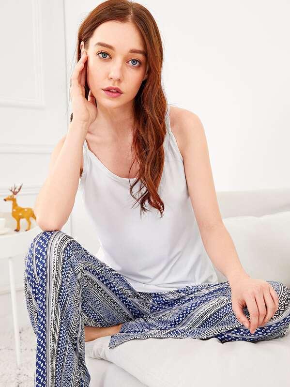 Christmas Geo Print Cami Pajama Set