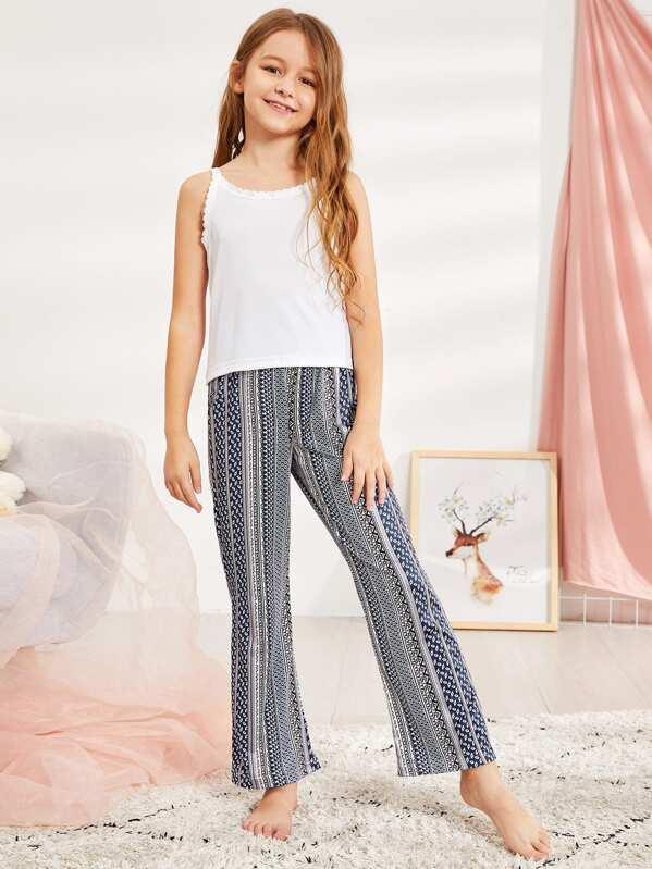 Christmas Girls Geo Print Cami Pajama Set