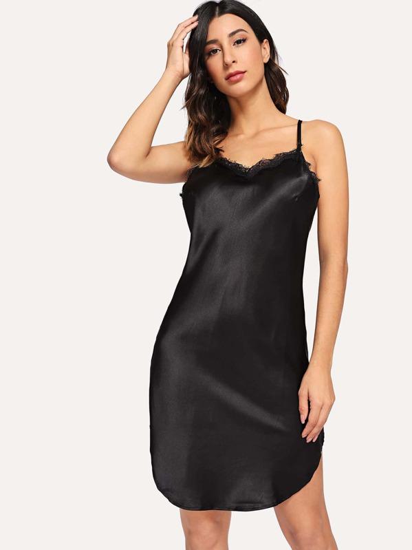 Contrast Lace Satin Cami Dress
