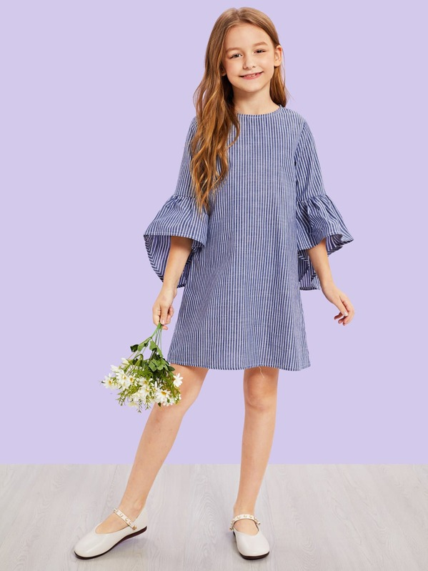 Girls Zip Back Flounce Sleeve Striped Dress, Sashab