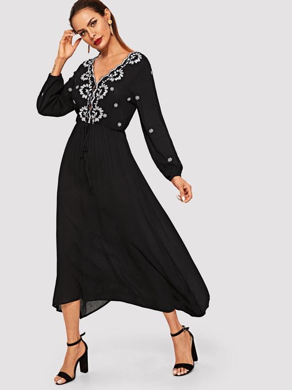 Botanical Embroidered Elastic Waist Dress