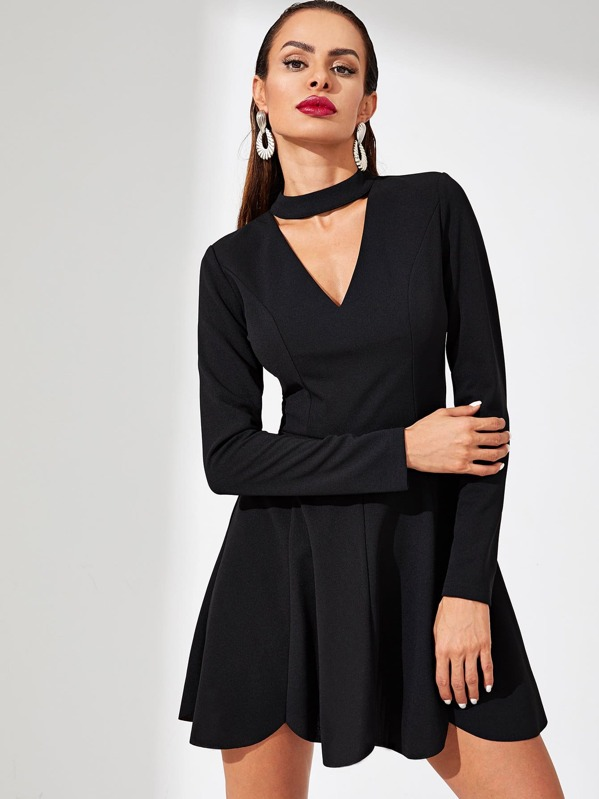 Choker Neck Fit and Flare Dress