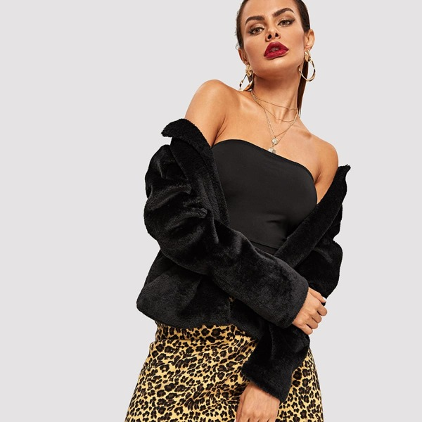 Solid Faux Fur Coat, Black