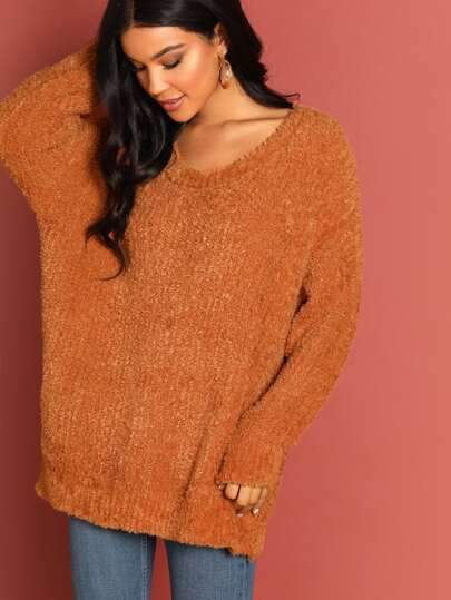 Fuzzy Knit Round Neck Pullover Sweater