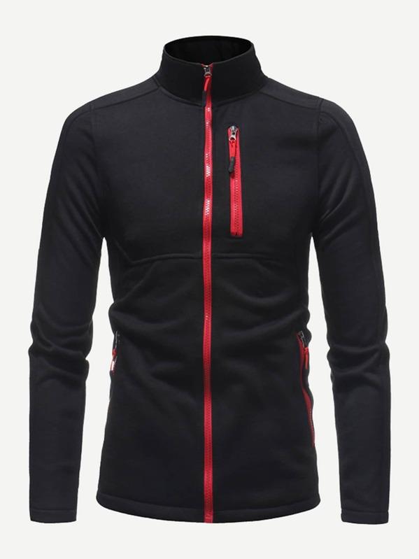 Men Contrast Trim Zip Up Sweatshirt