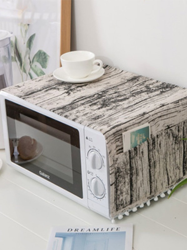 Wood Grain Pattern Microwave Oven Cover