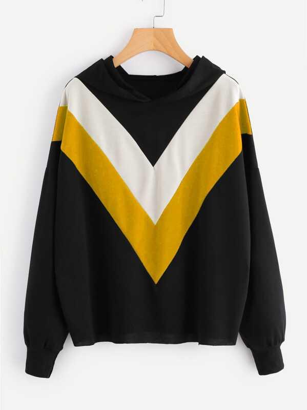 Plus Color Block Hooded Sweatshirt, null