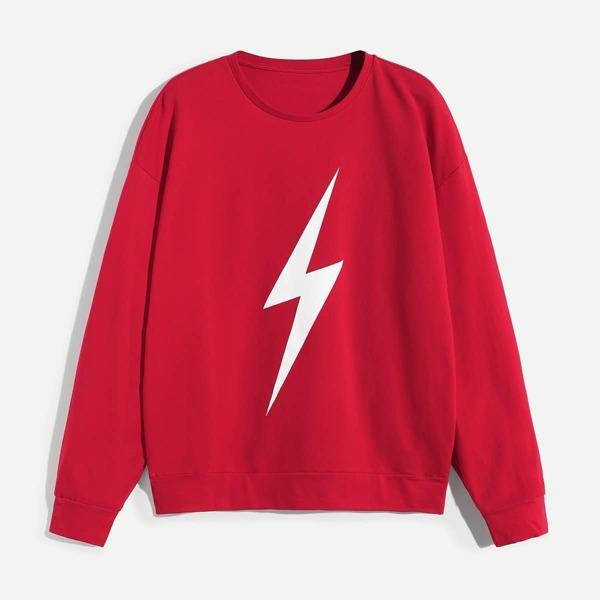 Men Crew Neck Lightning Print Pullover, Red