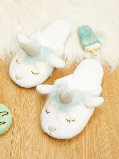 Shein Chaussons Duveteux Design Licorne De Cartoon