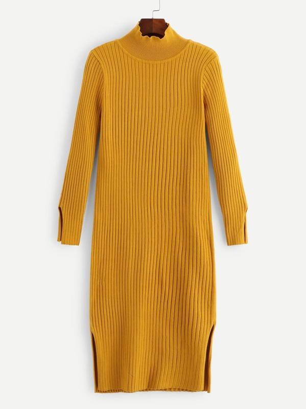 Mock-Neck Split Rib Knit Sweater Dress