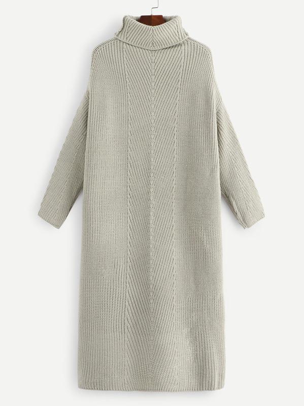 Turtleneck Drop Shoulder Solid Sweater Dress