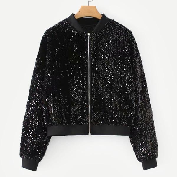Zipper Fly Sequin Jacket