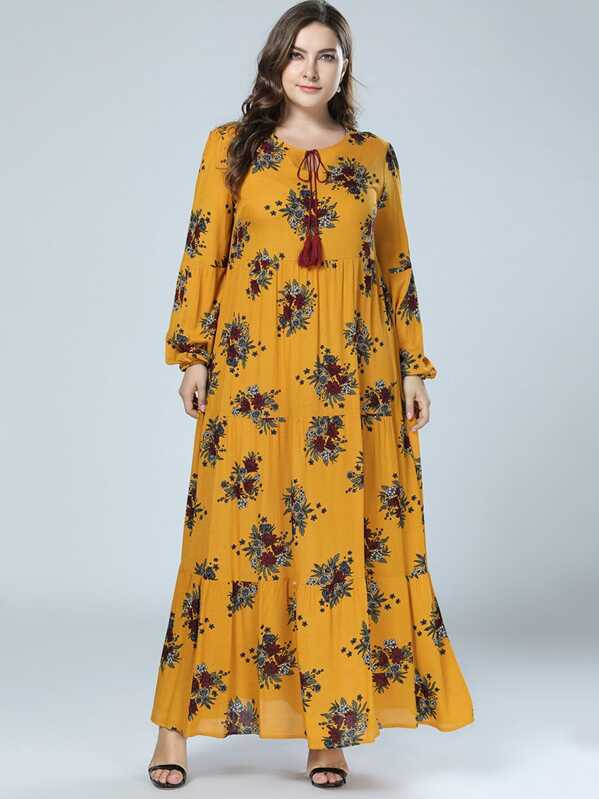 Plus Floral Print Tie Neck Bishop Sleeve Longline Dress