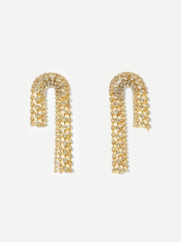 Rhinestone Tassel Drop Earrings 1pair