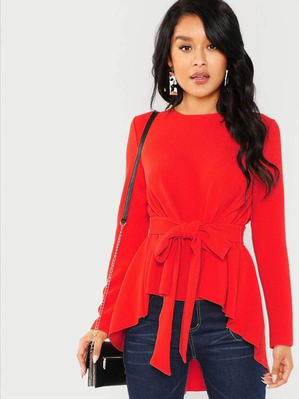 Self Belted Asymmetrical Hem Top, Red, Muriel Villera