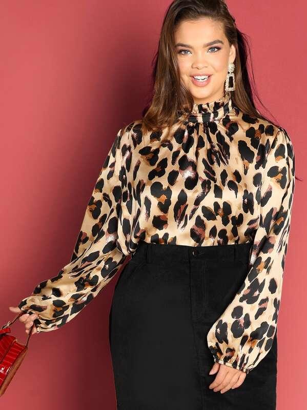 Plus Leopard Print Blouse, Faith Bowman