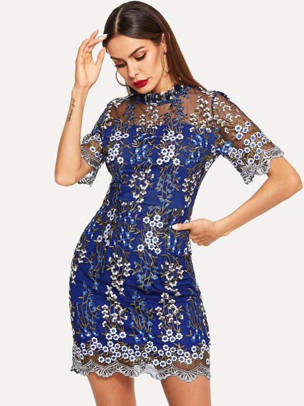 Floral Embroidery Mesh Overlay Bodycon Dress, Andy