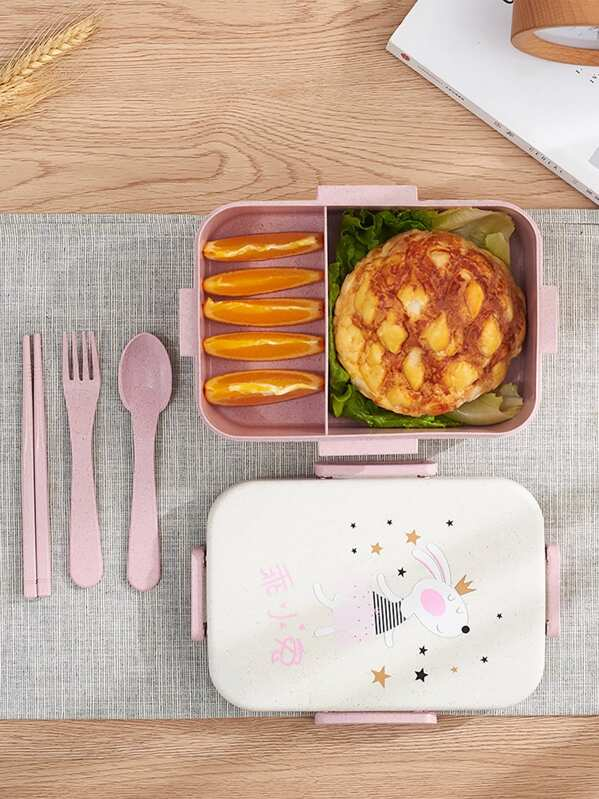 2grids Cartoon Lunch Box With Cutlery Set