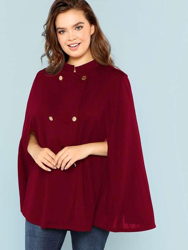 Plus Double Breasted Cape Coat, Faith Bowman