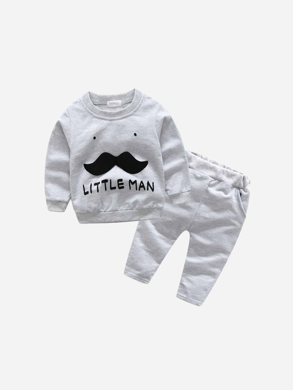 Toddler Boys Letter Print Stereo Mustache Top With Pants, null