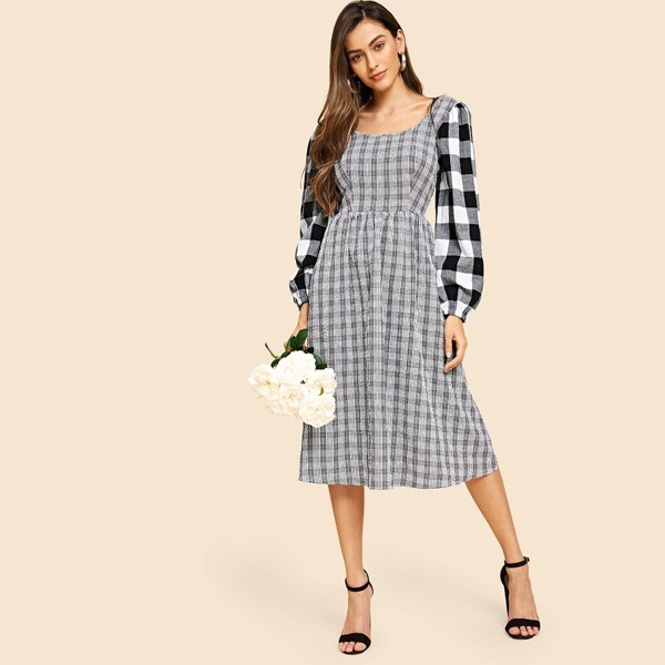 60s Square Neck Lantern Sleeve Plaid Dress