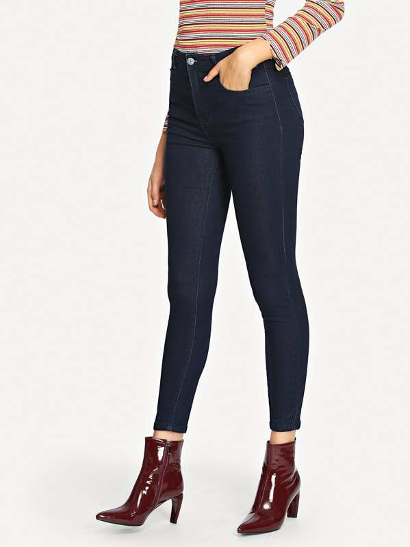Solid Skinny Ankle Jeans, Sasa