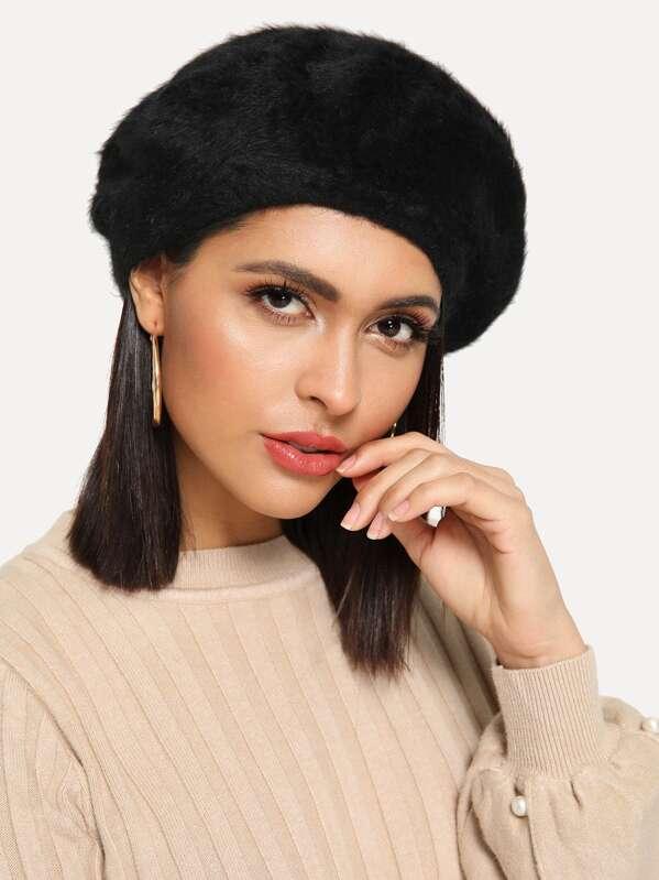 Plain Beret Hat, Black