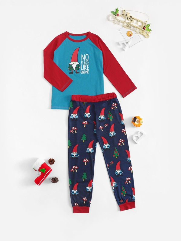 Christmas Kids Santa Print Pajama Set