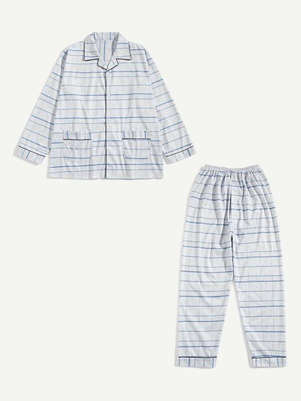 Men Striped Button Front Pajama Set