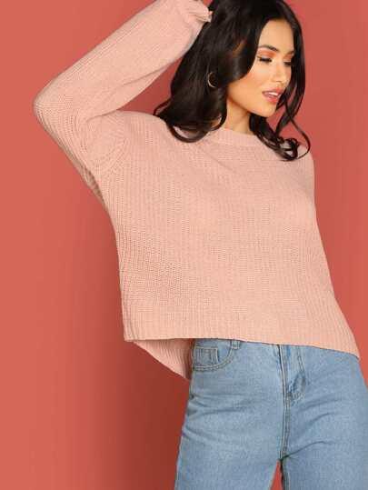 Round Neck Soft Knit Rib Cuff Pullover Sweater