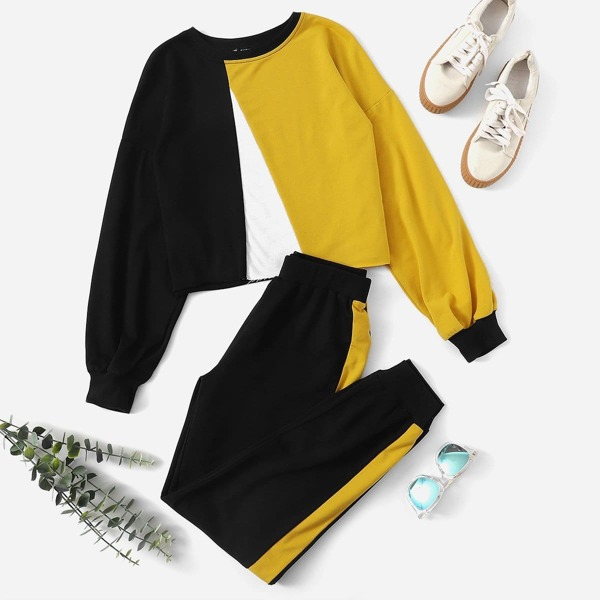 Colorblock Pullover and Contrast Sideseam Sweatpants Set
