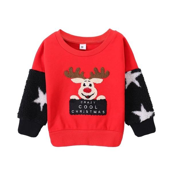 Toddler Boys Christmas & Letter Print Sweatshirt
