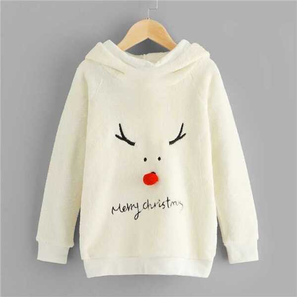 Toddler Girls Christmas & Letter Embroidered Hoodie