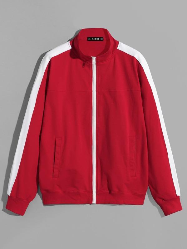 Men Contrast Panel Zip Up Sweatshirt