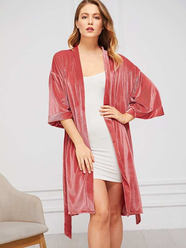 Ribbed Self Belted Velvet Robe